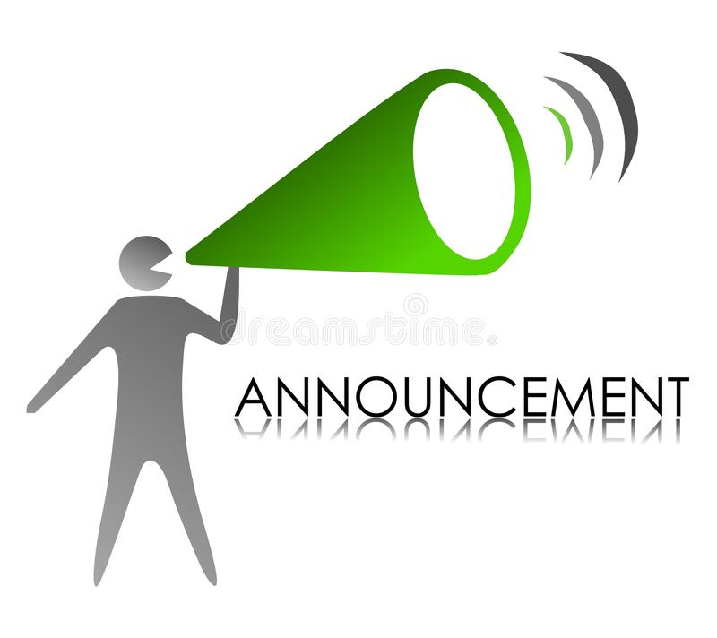 Announcement. An illustration of Announcement megaphone stock illustration