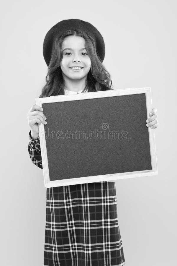 Announcement or promotion. Event announcement. Glad to inform you. Happy child with promo board. Place for ad or. Announcement. Girl with smile hold blank royalty free stock photo