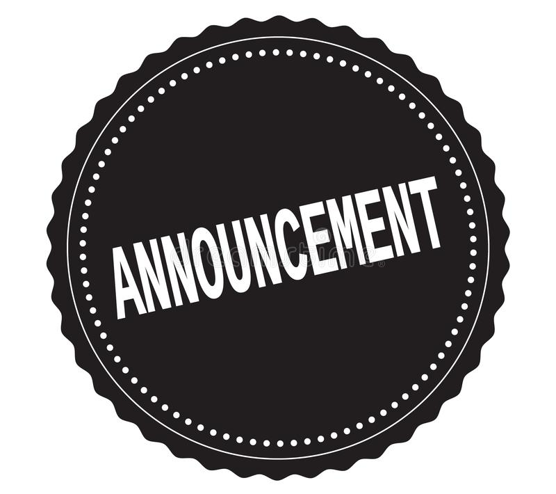 ANNOUNCEMENT text, on black sticker stamp. vector illustration
