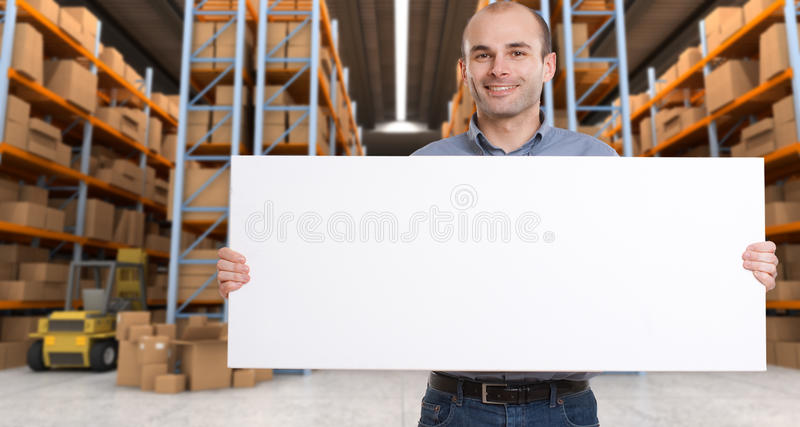 Announcement at warehouse b royalty free stock photo