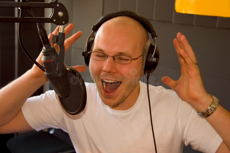 Announcer at radiostation royalty free stock photo