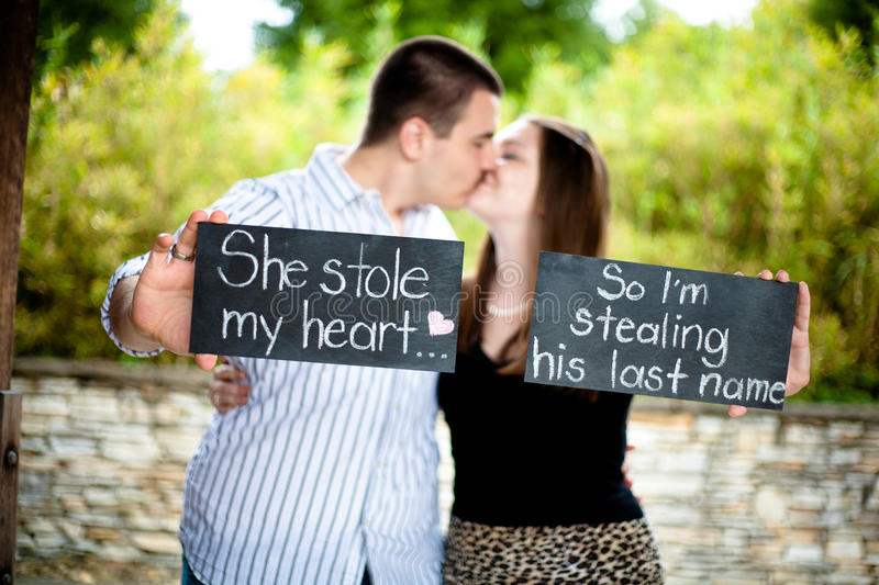 Announcing Our Engagement royalty free stock photo