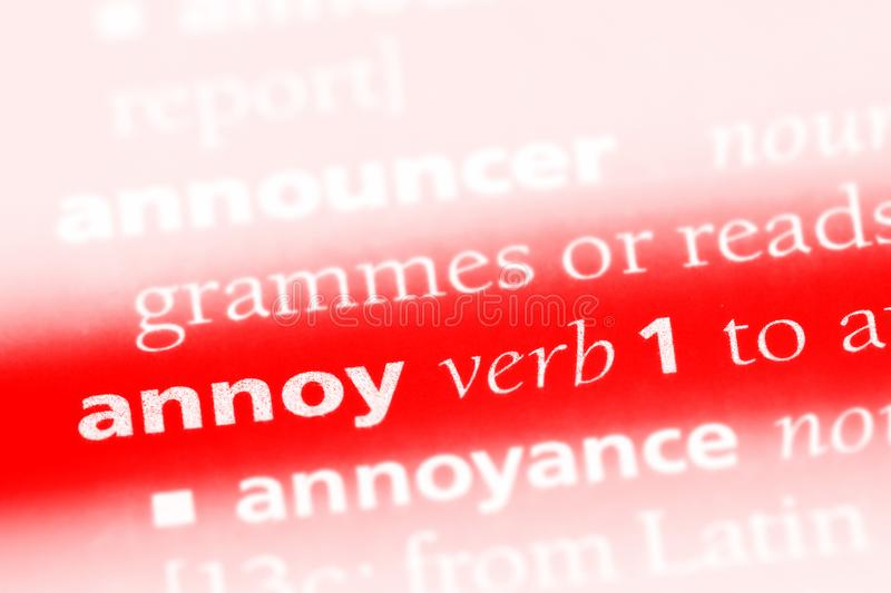 Annoy. Word in a dictionary.  concept royalty free stock image