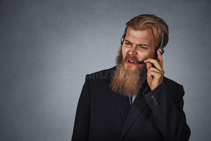 Annoyed customer service employee someone shouting stock photography