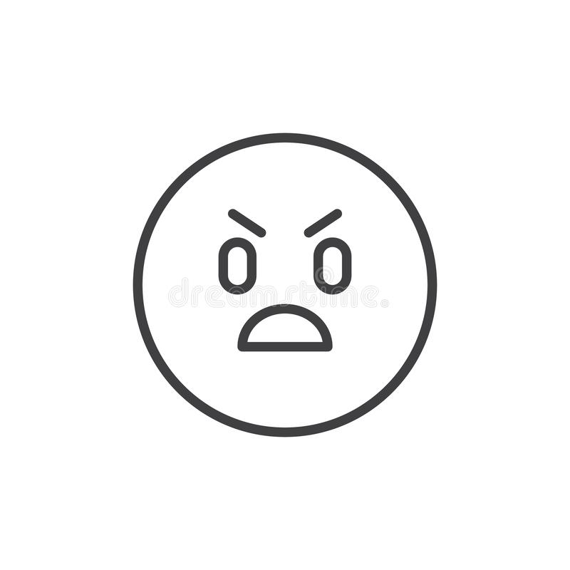 Annoyed emoticon outline icon vector illustration
