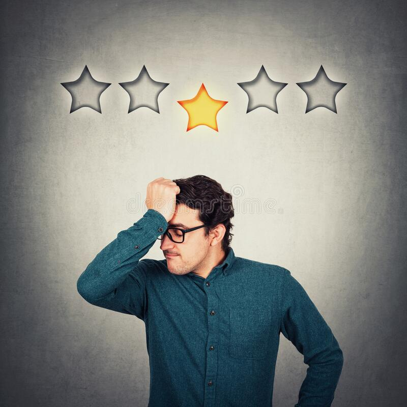 Free Annoyed Entrepreneur Keeps Hand To Forehead, Displeased Face Emotion, As Receives 1 Star Out Of 5 For Poor Customer Service. Royalty Free Stock Photos - 184350968