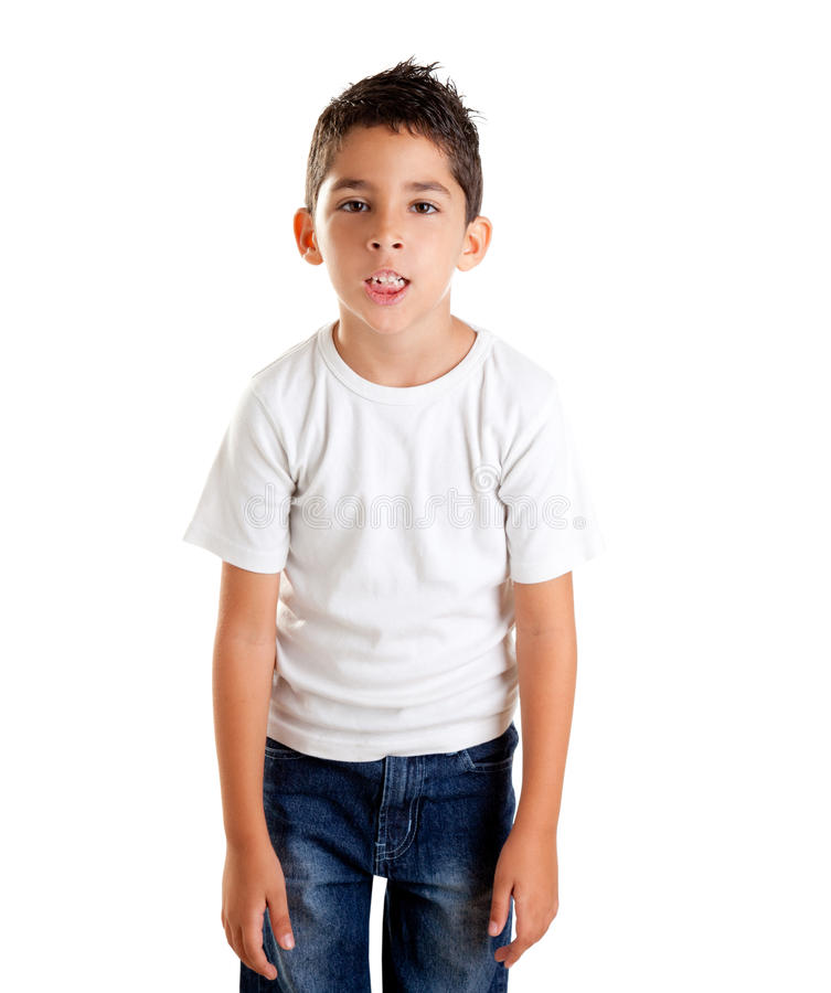 Annoyed kid with funny fed up expression. Annoyed kid with funny fed up gesture isolated on white royalty free stock photos