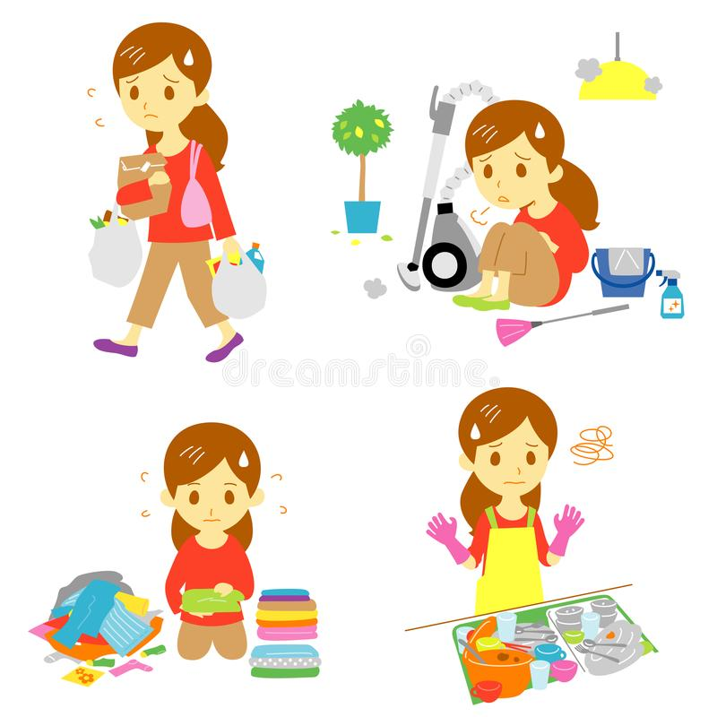 Annoying household chores, file. Annoying housework, annoying chores, shopping, cleaning, laundry, washing dish woman vector illustration