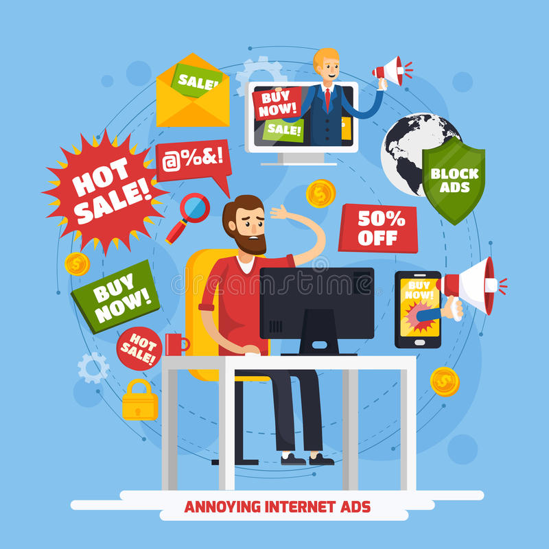 Free Annoying Intrusive Advertisement Composition Royalty Free Stock Image - 98579536