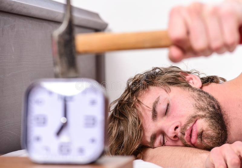 Annoying ringing alarm clock. Man bearded annoyed sleepy face lay pillow near alarm clock. Guy knocking with hammer. Alarm clock ringing. Break discipline royalty free stock image