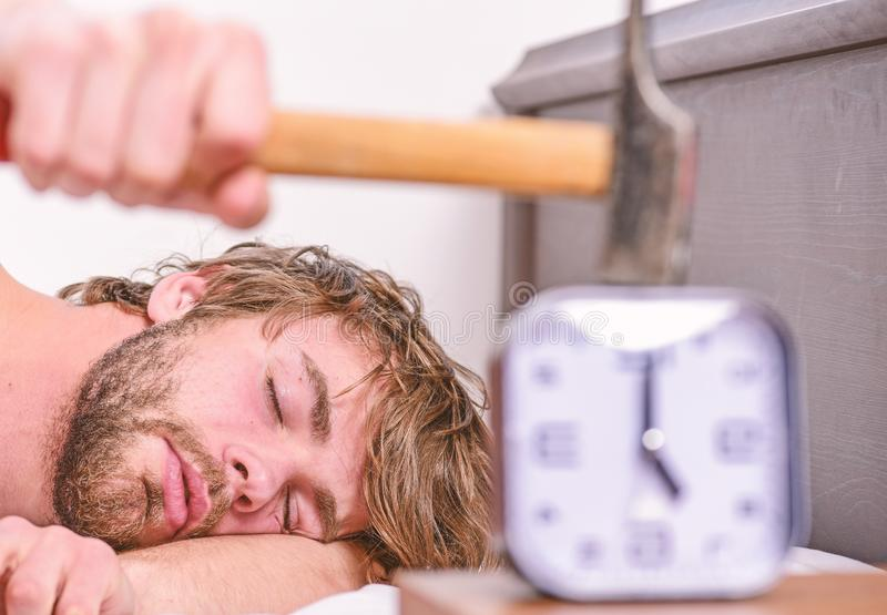 Annoying ringing alarm clock. Man bearded annoyed sleepy face lay pillow near alarm clock. Guy knocking with hammer. Alarm clock ringing. Break discipline stock photography