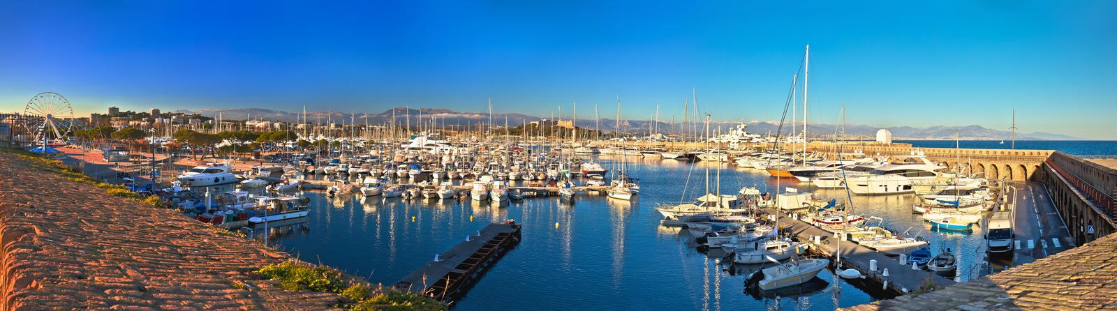 Anntibes waterfront anf Port Vauban harbor panoramic view. Southern France royalty free stock photography