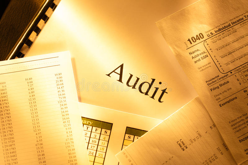 Annual budget, calendar and audit stock photography