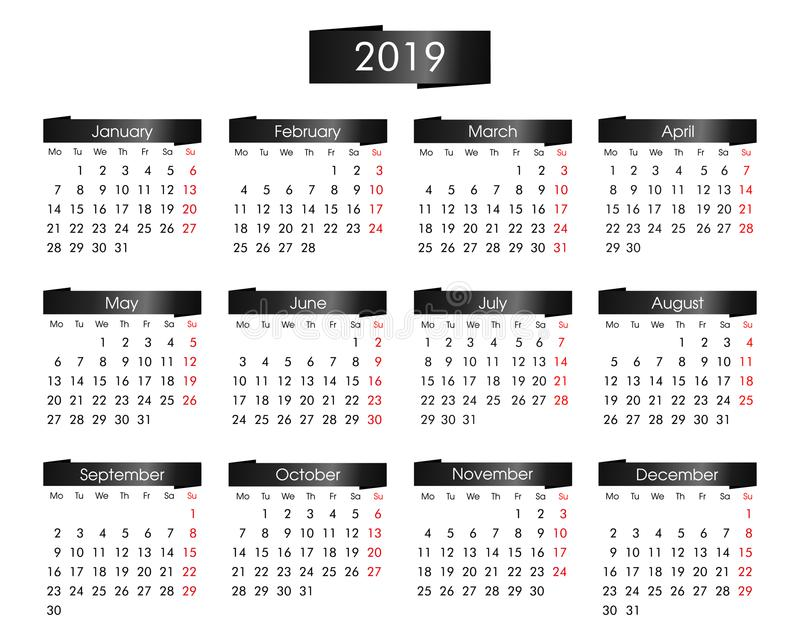 annual calendar for 2019 year with the metallic black vector illustration