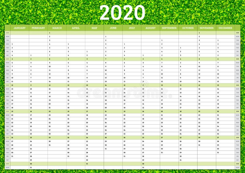 2020 annual calendar. Yearly planner template. Vector illustration stock photos