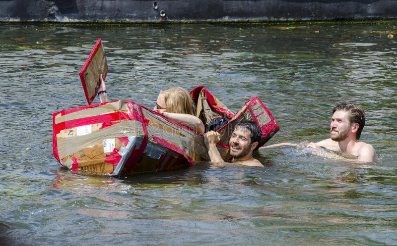 Annual Cambridge Cardboard Boat Race, 2017 stock images