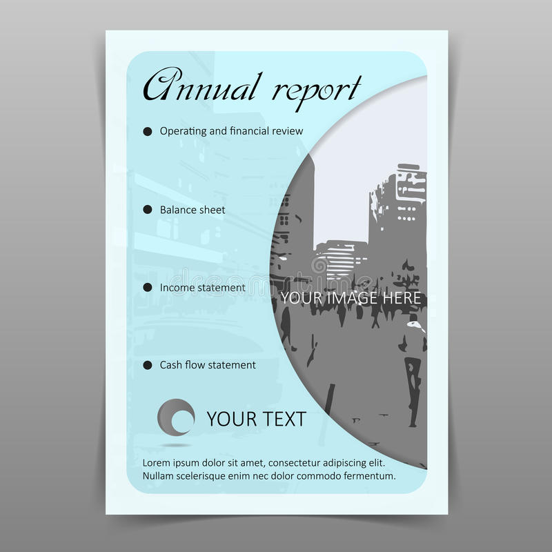Annual company report cover design template. Vector royalty free illustration