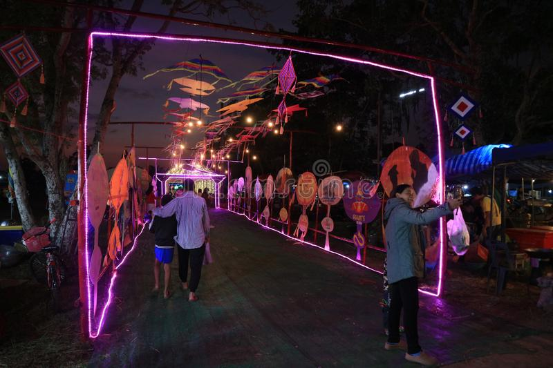 Annual event ubonratchathani thailand december-04-2019beautiful colors and lights at night stock images