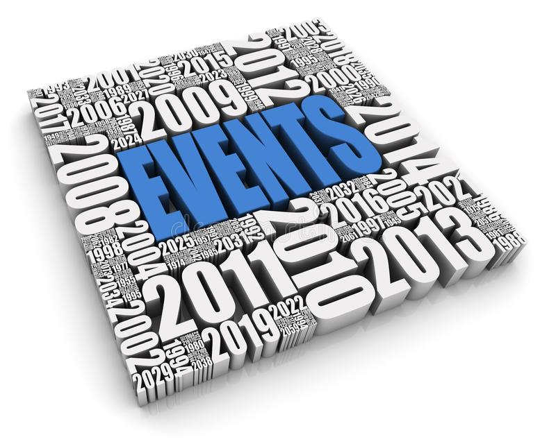 Annual Events. EVENTS 3D text surrounded by calendar dates. Part of a series