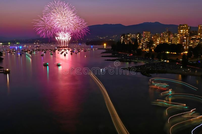 Fireworks in Vancouver. BC. stock images