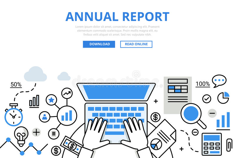 Annual financial report concept flat line art vector icons. Hands working laptop calculator document chart graphic. Modern website infographics illustration royalty free illustration