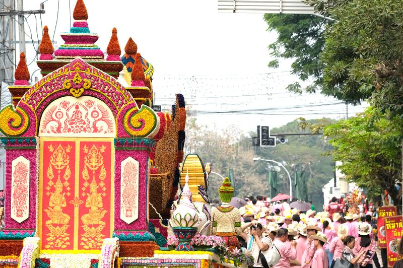 annual flower festival parade in Chiang Mai, Thailand stock images