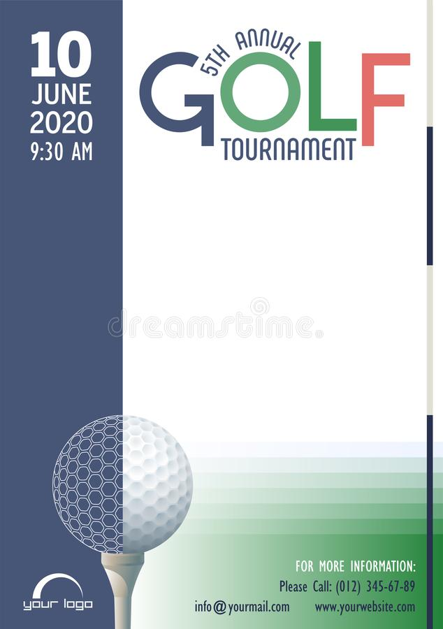 Annual Golf Tournament poster template. Place for your text message. royalty free illustration