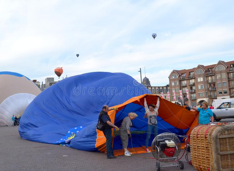 Annual hot air balloon festival in Sint-Niklaas royalty free stock photography