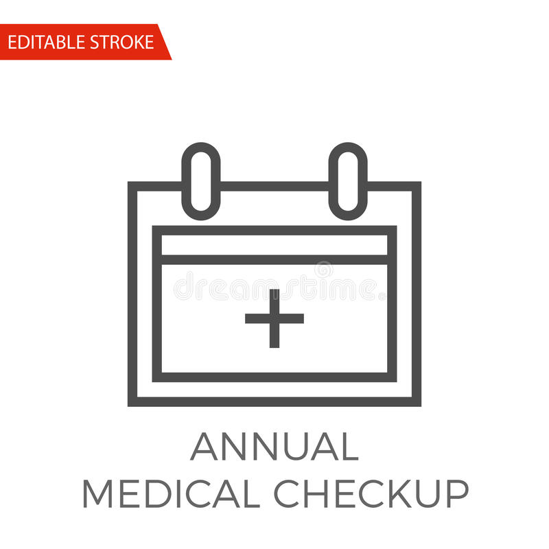 Annual Medical Checkup Vector Icon. Annual Medical Checkup Thin Line Vector Icon. Flat Icon on the White Background. Editable Stroke EPS file. Vector royalty free illustration