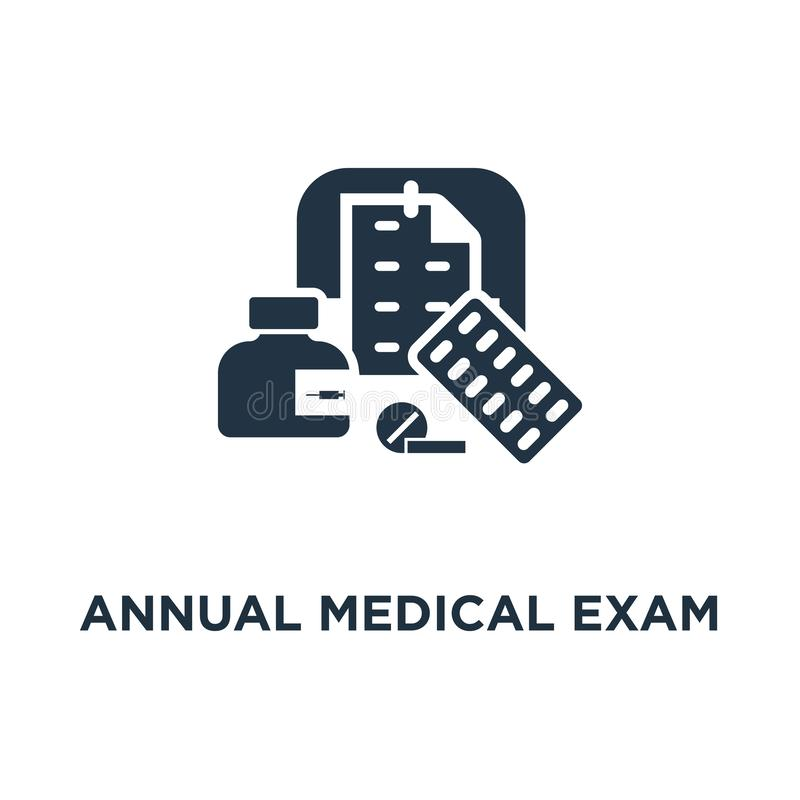 Annual medical exam icon. regular health check up concept symbol design, medication course, calendar period, preventive. Examination appointment, medical vector illustration