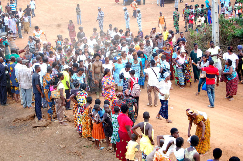 ANNUAL MYSTICAL DANCE. A village in Ivory Coast celebrating a feast to pay tribute to the divine forces in various ways through the annual dance in essentially royalty free stock photos