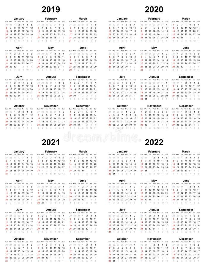 Annual Plain Calendar Sunday First Day 2022 2021 2020 2019 Stock