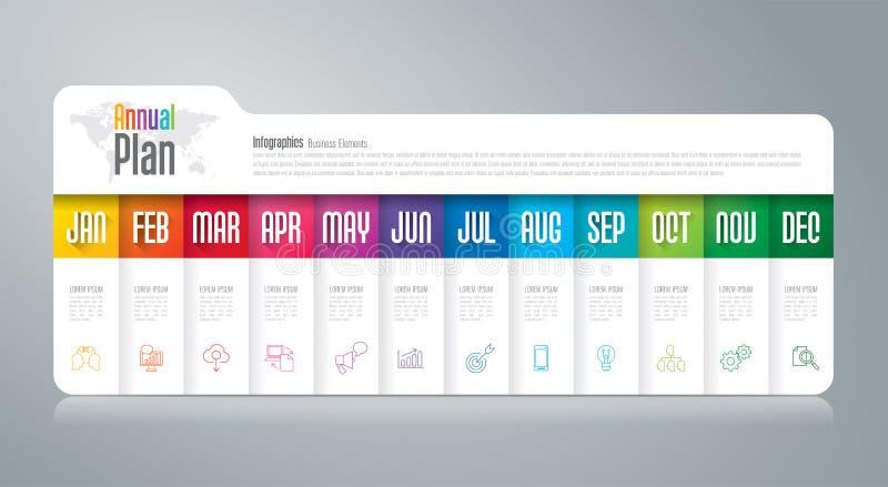 Annual plan January - December infographics design. stock illustration