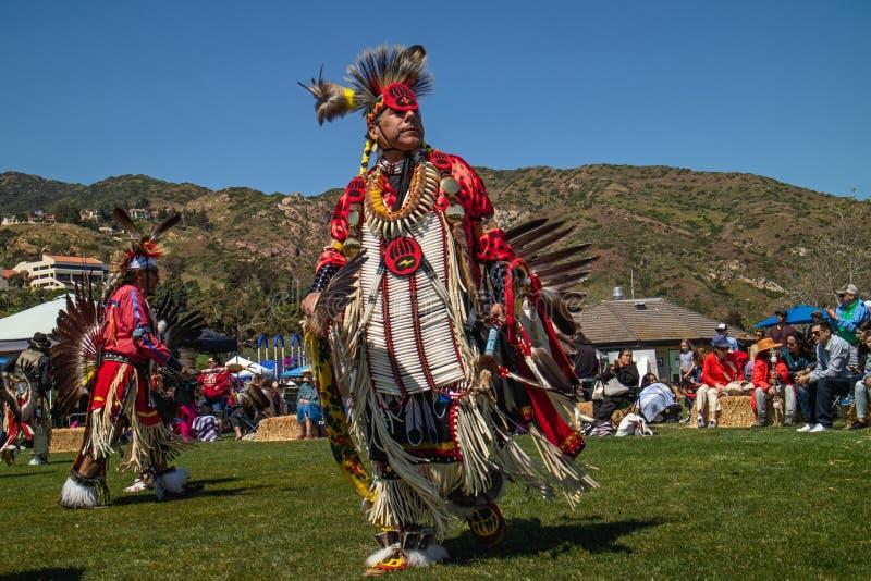 Powwow. Mature man in full Native American regalia. stock photography
