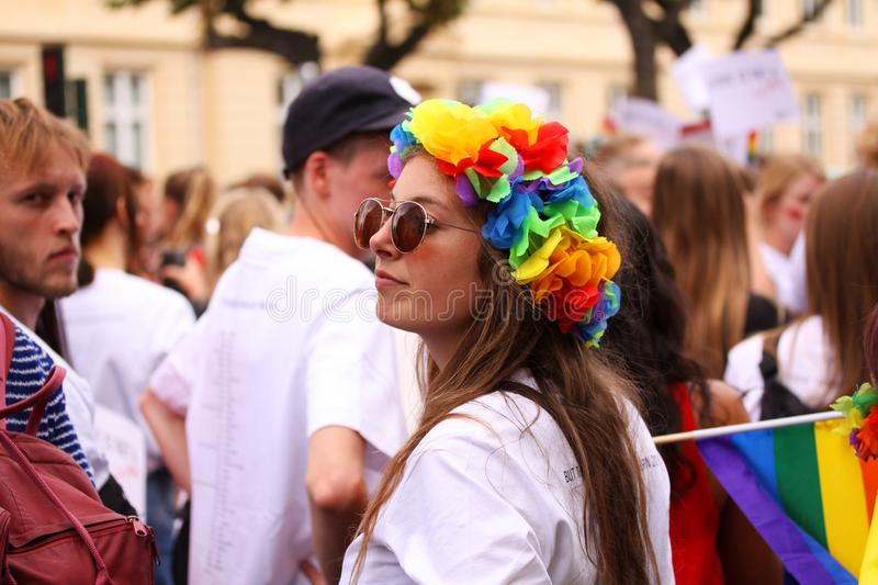The annual Pride Parade LGBT. Impressions from gay and lesbians participating in the Gay Pride Parade with rainbow colors and flag. Copenhagen, Denmark - August royalty free stock images