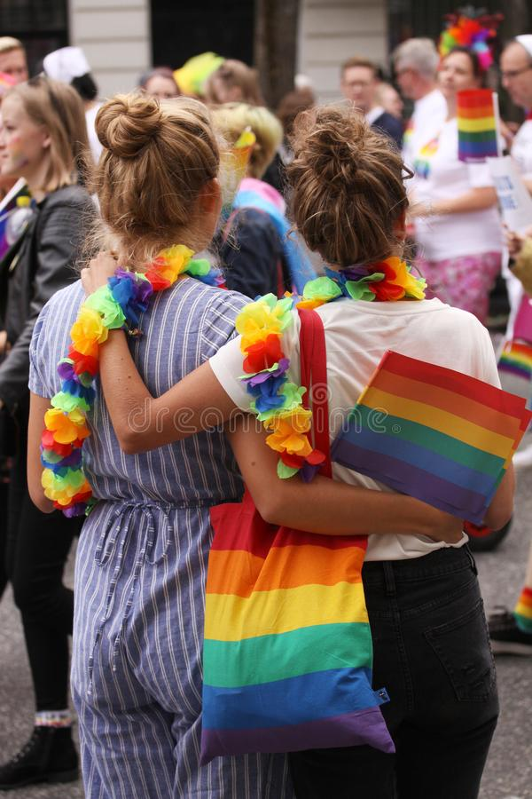 The annual Pride Parade LGBT. Impressions from gay and lesbians participating in the Gay Pride Parade with rainbow colors and flag royalty free stock image