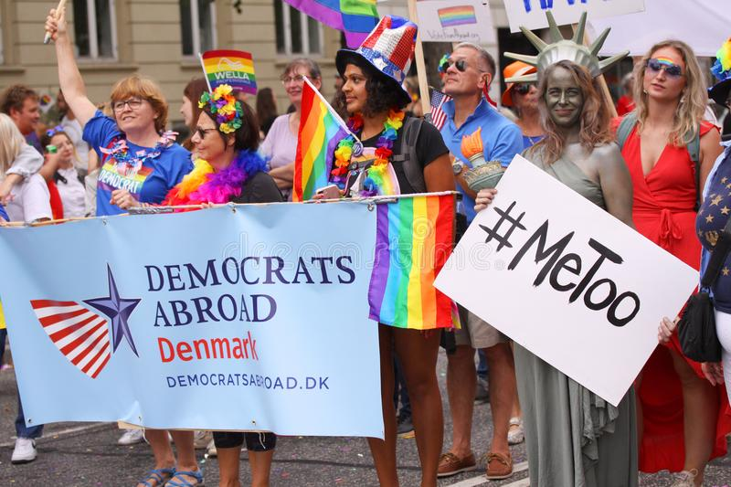 The annual Pride Parade LGBT. Impressions from gay and lesbians participating in the Gay Pride Parade with rainbow colors and flag. Copenhagen, Denmark - August stock photos