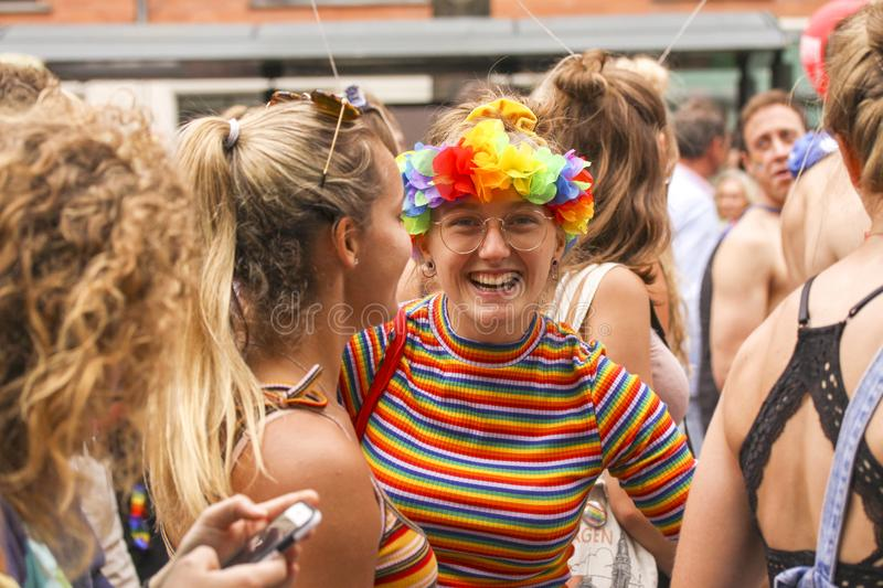The annual Pride Parade LGBT. Impressions from gay and lesbians participating in the Gay Pride Parade with rainbow colors and flag. Copenhagen, Denmark - August stock photography