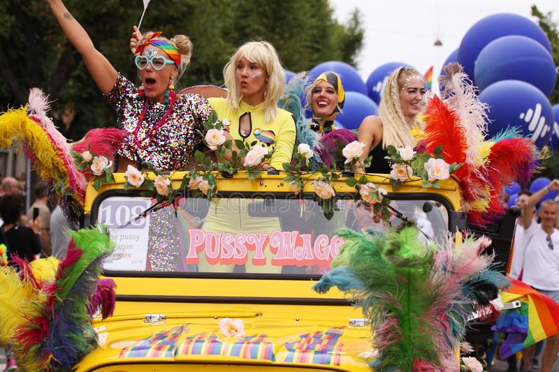 The annual Pride Parade LGBT. Impressions from gay and lesbians participating in the Gay Pride Parade with rainbow colors and flag. Copenhagen, Denmark - August stock images
