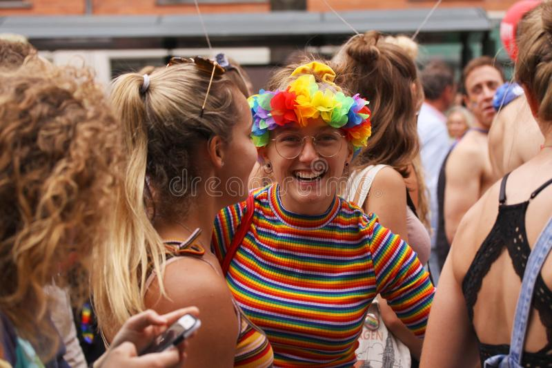 The annual Pride Parade LGBT. Impressions from gay and lesbians participating in the Gay Pride Parade with rainbow colors and flag stock photos