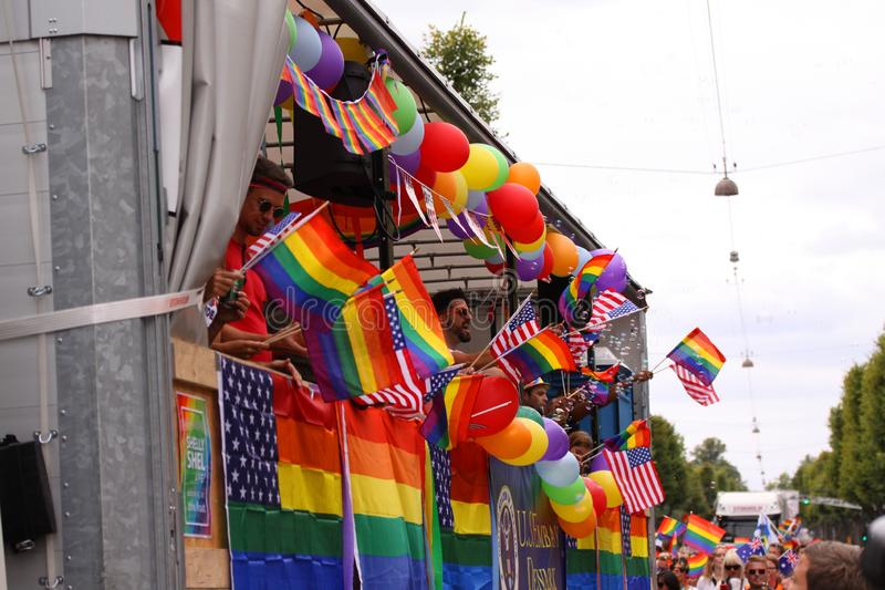 The annual Pride Parade LGBT. Impressions from gay and lesbians participating in the Gay Pride Parade with rainbow colors and flag stock photography