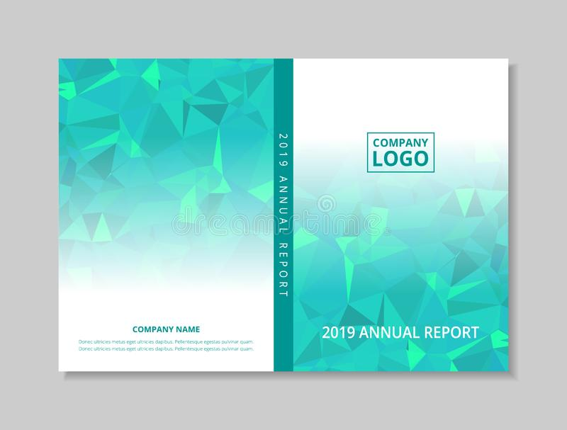 Annual report 2019 book design front and back cover template, blue green abstract low polygon on white background stock illustration