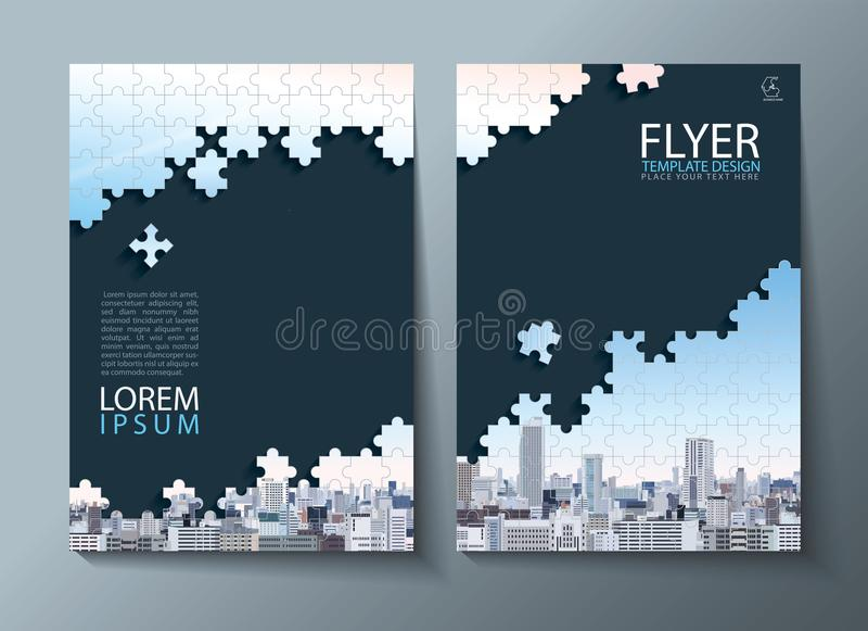 Annual report brochure, flyer design, Leaflet cover presentation abstract flat background, book cover templates, Jigsaw puzzle ima stock illustration