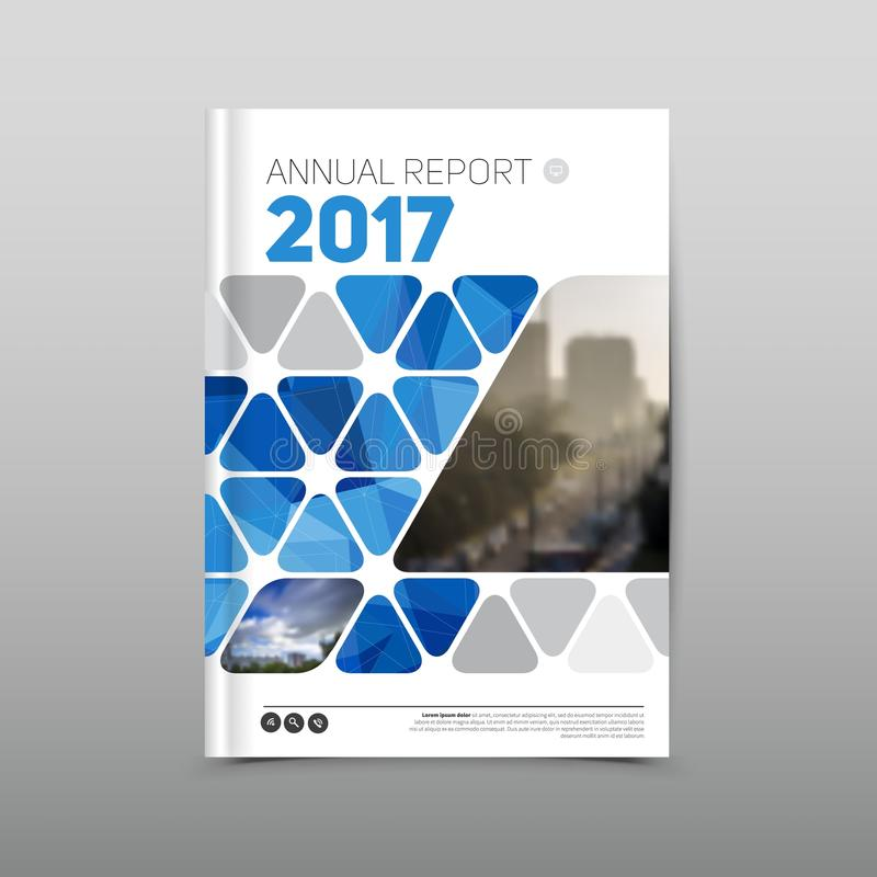 Annual report brochure flyer design template, Blue colored vector, Leaflet cover presentation abstract background stock photography