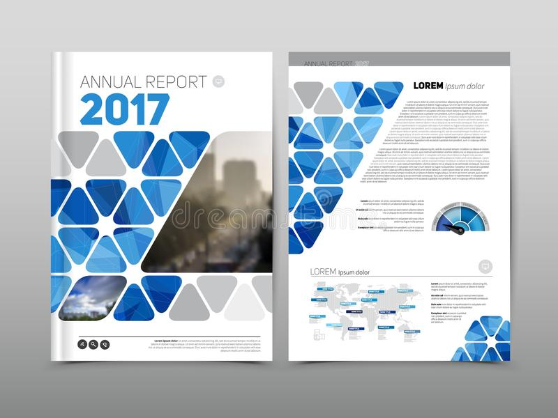 Annual report brochure flyer design template, Blue colored vector, Leaflet cover presentation abstract background royalty free stock image