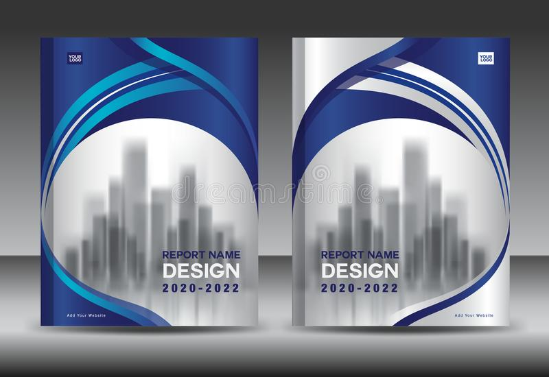 Annual report brochure flyer template, Blue cover design, business advertisement, magazine ads, book cover. Annual report brochure flyer template, Blue cover stock illustration