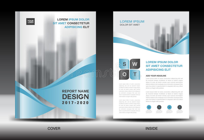 Annual Report Brochure Flyer Template Blue Cover Design Stock