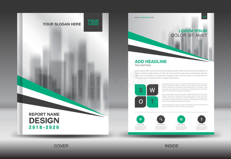 Annual Report Brochure Flyer Template Green Cover Design Stock
