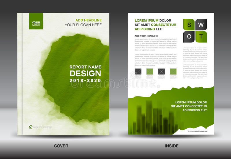 Annual report brochure flyer template, Green cover design. Business layout, advertisement, book, leaflet, catalog layout in a4 size royalty free illustration