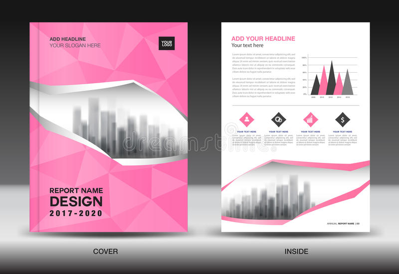Annual report brochure flyer template, Pink cover design. Business advertisement, magazine ads, catalog vector layout in A4 size royalty free illustration